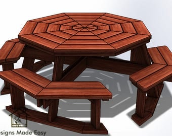 Easy DIY Large Octagon Picnic Table - Bench Woodworking Design Plans - Instructions 03