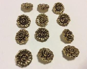 1 Dozen Vintage Plastic Antique Gold Rose Shank Buttons, 20mm