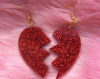 Small Kitsch Kawaii Deadly Valentine Acrylic Perspex Red Glitter Broken Hearts Dangle Earrings