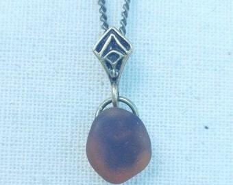 Genuine Brown Sea Glass Pendant