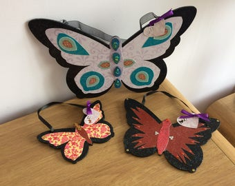Handcrafted Butterfly Wall Hangings, set of 3