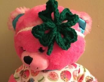 Crochet four leaf clover headband