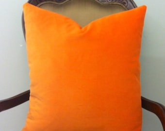 Orange Cotton Velvet Pillow Cover, Orange Pillows, Velvet Pillow, Decorative Throw Pillows, Velvet Cushions, Orange Cotton Velvet Fabric