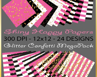 Kate Spade Inspired Pink Black & Gold Glitter Confetti - 24 Printable Coordinating Background Digital Scrapbooking Papers Stripes Scatter