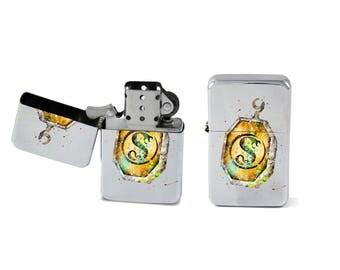 Windproof Lighter Harry Potter Slytherin's Locket Horcrux Fliptop Chrome Cigarette Favor Steel