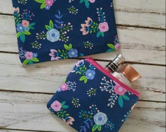 Navy floral print fabric zippered makeup bags,cosmetic bags,pouch,case,accessory bag