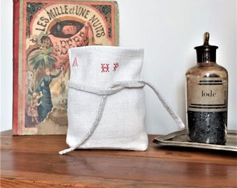 Hemp bag, antique french hemp