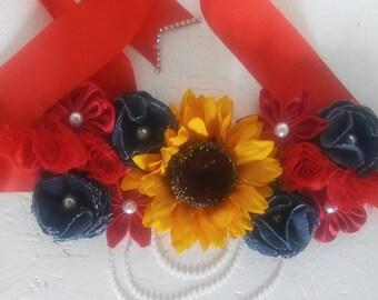 Sun flower maternity sash