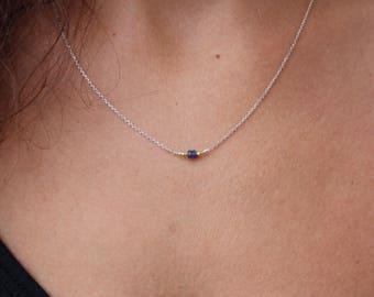 Sapphire Necklace - Sterling Silver Chocker - Genuine Sapphire  Chocker -Minimalist Jewelry - Layered Necklace - Chain Necklace