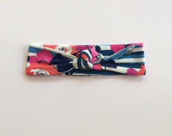 Floral and Navy Stripe Top Knot/knotted headband/baby headband/toddler headband/newborn headband/kids headband/adult headband