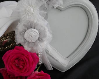 weathered romantic shabby style grey photo frame with a chiffon and lace flowers
