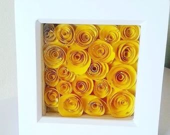 Yellow roses box frame, sparkling roses, white frame, housewarming gift, home decor, new home gift, hallway decor, Mother's day present