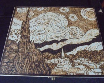 Van Gogh Starry Night inspired hand pyrography wooden box