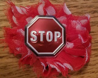 Stop Sign Shabby Flower Hair Clip