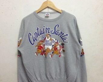 Vintage 90's Captain Santa Club Sweatshirts Size Medium