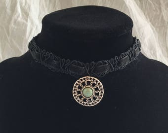 Black Lace Choker with Turquoise Pendant