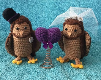 Bespoke crochet bride and groom owl wedding cake toppers