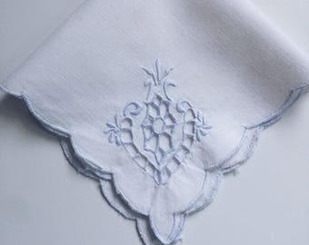 White and Periwinkle Hankerchief