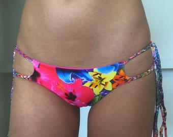 The 'Braided Besos' Cheeky Side Tie Reversable Bikini Bottoms