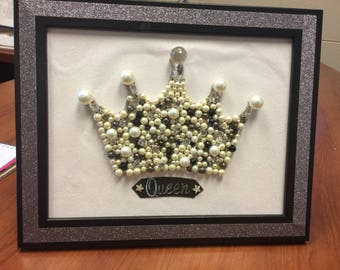 Pearl Mosiac Queen Crown Wall Art