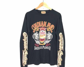 Rare!! Vintage Indian Motorcycle Longsleeve T Shirt Size M