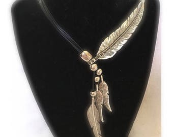 Metal Feathers Adjustable Necklace Silver and Black