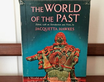 """Vintage Boxed Book Set on Archeology, First Edition Midcentury Resource Books in Two Volumes, Jacquetta Hawkes """"The World of the Past"""""""