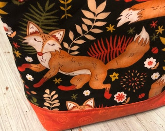 Fox knitting bag, Medium Knitting Bag, Project Bag, Zippered Crochet Bag, Zipper Project Bag, Sock Knitting Bag, Sock Project Bag