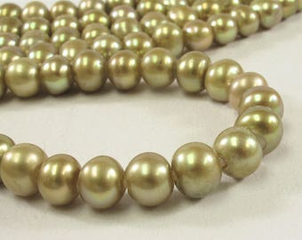 8.5-10 mm Large Hole Potato Freshwater Pearl Beads in Dark Blue OR Champagne Color, 2 mm Hole, Genuine Cultured Pearl Bead (323-LHPMIX09)