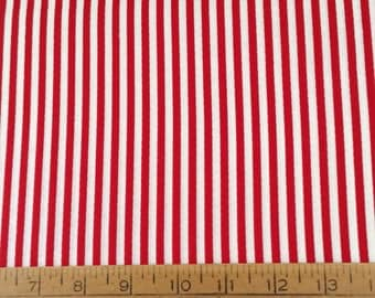 Red and white vertical stripes cotton fabric by the yard