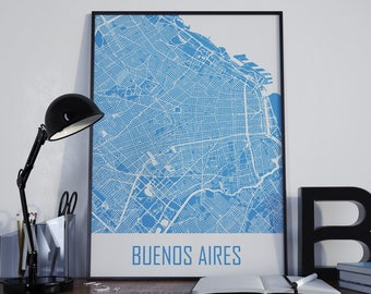 Buenos Aires Map Argentina Map Street Map Wall Decor Buenos Aires Photo Wall Art City Map Home Decor Buenos Aires Print Buenos Aires Poster