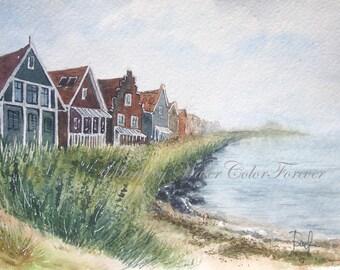 Original painting, watercolour, watercolor landscape , summer landscape, seascape, Holland landscape, wall art, wall decor