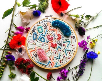 modern embroidery hoop// wall art// handmade contemporary home decor // bright pastel// abstract textile art