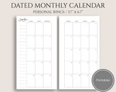 """2018 Dated Monthly Printable Planner Inserts, Monday-Sunday, Monthly Calendar Pages ~ Personal Rings / 3.7"""" x 6.7"""" Instant Download (MMS)"""