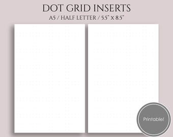 "Dot Grid, Dotted Filler Paper, Printable Planner Inserts ~ A5 / 5.5"" x 8.5"" Instant Download"