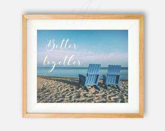 Beach Wall Decor, Beach Sign, Beach PRINTABLE, Sunset Print, Beach Wedding Gift, Couple Gift, Ocean Photography, Ocean Print, Seaside Decor