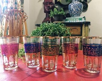 Vintage M Missary Paris Glasses, Set of 5, Moroccan Teacups