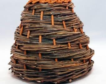 "Traditional Sicilian Willow ""Vimini"" Basket - ""Vaso a spirale"""
