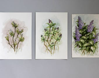 SET of 3 LILACS Original watercolor painting, Triptych floral watercolor art, watercolor original art original painting, flower gift for her