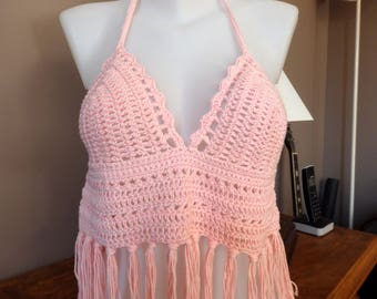 Bra Top summer top Bikini crocheted with Pastel pink cotton fringe