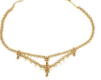 Antique Gold Saree Sari Belt Waist Chain Indian Bollywood Belt Dress Accessory Wedding