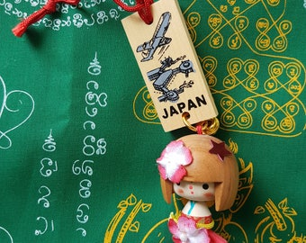 Wooden Japanese Doll Decoration