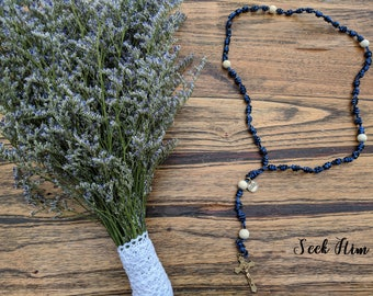 Knotted Rope Rosary with Wood Beads and Metal Crucifix