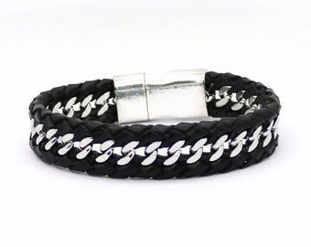 Men's Leather Chain Bracelet