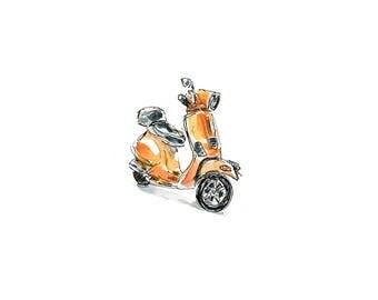 Vespa Motorcycle, Watercolor Sketch, Art Print