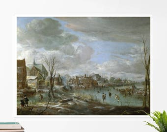 "Aert van der Neer, ""A Frozen River near a Village"". Art poster, art print, rolled canvas, art canvas, wall art, wall decor"