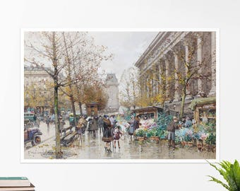 """Eugène Galien-Laloue, """"Flower Market"""".  Art poster, art print, rolled canvas, art canvas, wall art, wall decor"""