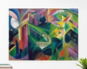 """Franz Marc, """"Deer in a Monastery Garden"""". Art poster, art print, rolled canvas, art canvas, wall art, wall decor"""