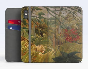 "Henri Rousseau, ""Tiger in a Tropical Storm"". iPhone X Wallet case iPhone 8 Wallet case  iPhone 7 Plus Wallet case. Samsung Wallet cases."