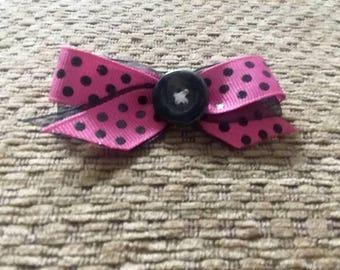 Pink and Black Polka Dot Bow